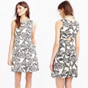 J. Crew black ivory Polynesian floral print dress